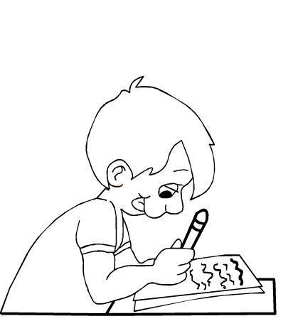 Niño escribiendo para colorear