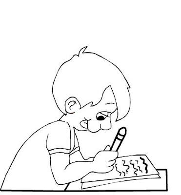 Personas escribiendo para colorear - Imagui