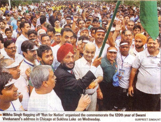 Satya Pal Jain at the flagging off of 'Run of Nation' by Sh. Milkha Singh at Sukhna Lake, to commemorate the 120th year of Swami Vivekanand's historic speech at Chicago.