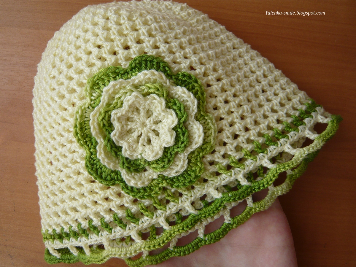 Связать цветочек для шапочек