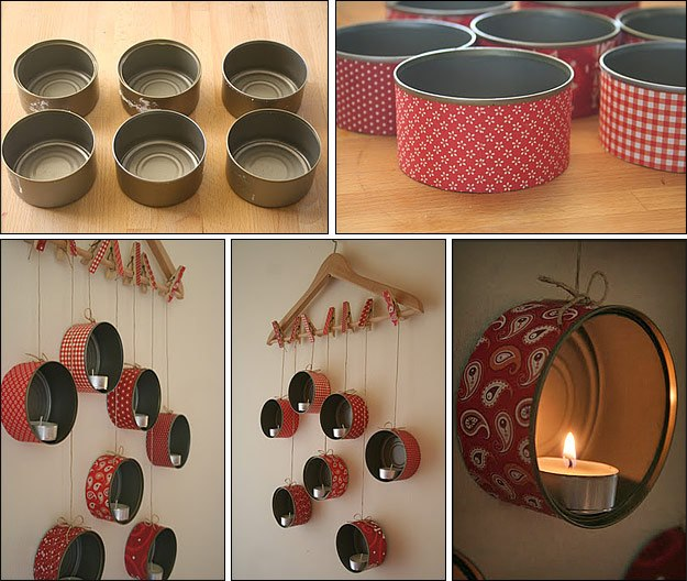 Luminária de parede feita de latas de sardinha