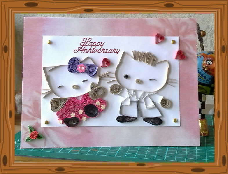 Papercrafts hello kitty couple anniversary card