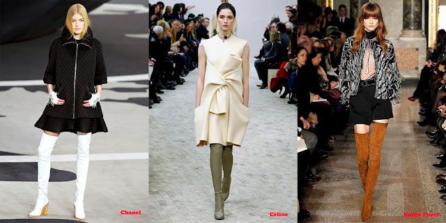 Tendencias mujer otoño/invierno 2013/14 bota encima rodilla: Chanel, Céline y Emilio Pucci