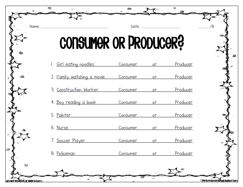 {Mrs Brinkmans Blog Social Studies Economics – Producer and Consumer Worksheet