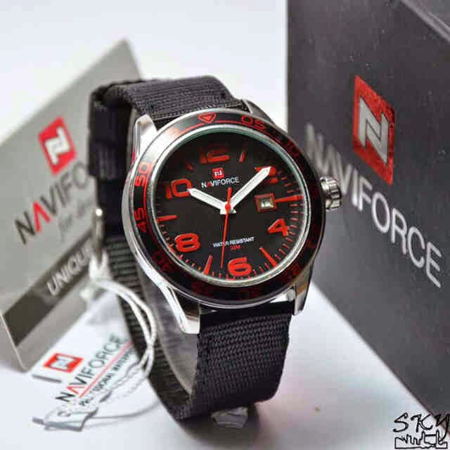 Naviforce 9032 silver merah