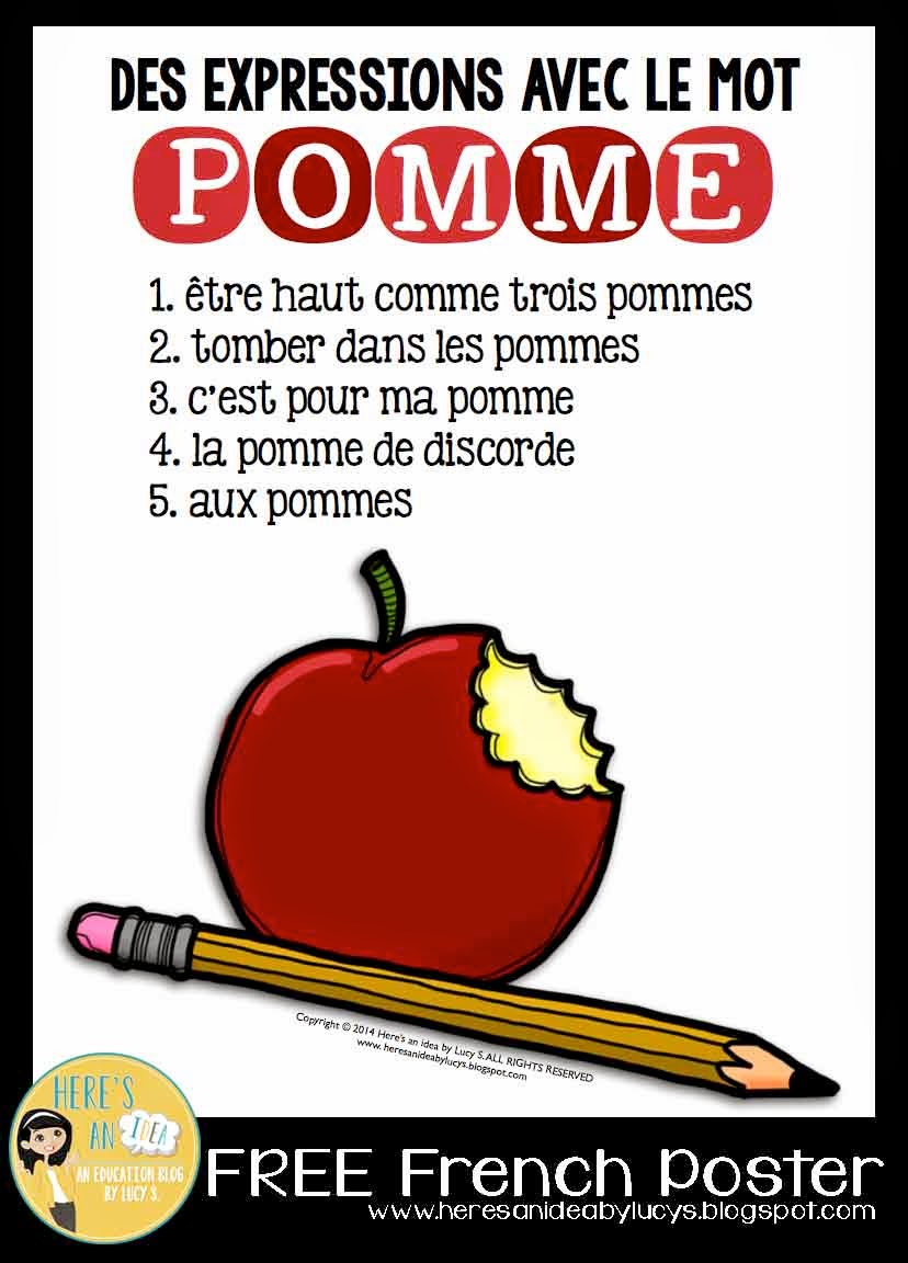 Here's an idea: FREE French Poster - apple expressions