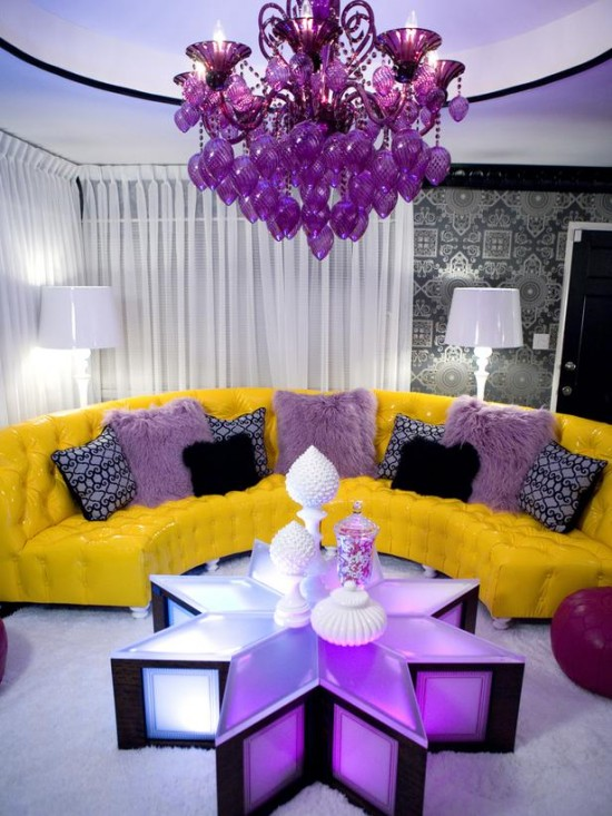 Tropical Home Makeover: Purple and Yellow Living Room Ideas