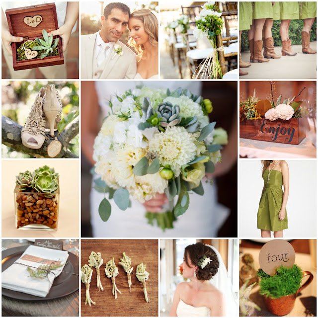 green and brown wedding inspiration
