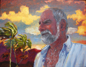 older gentleman in tropical setting with palm trees swaying in the wind