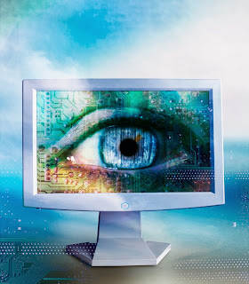 Image of an eye in a computer screen