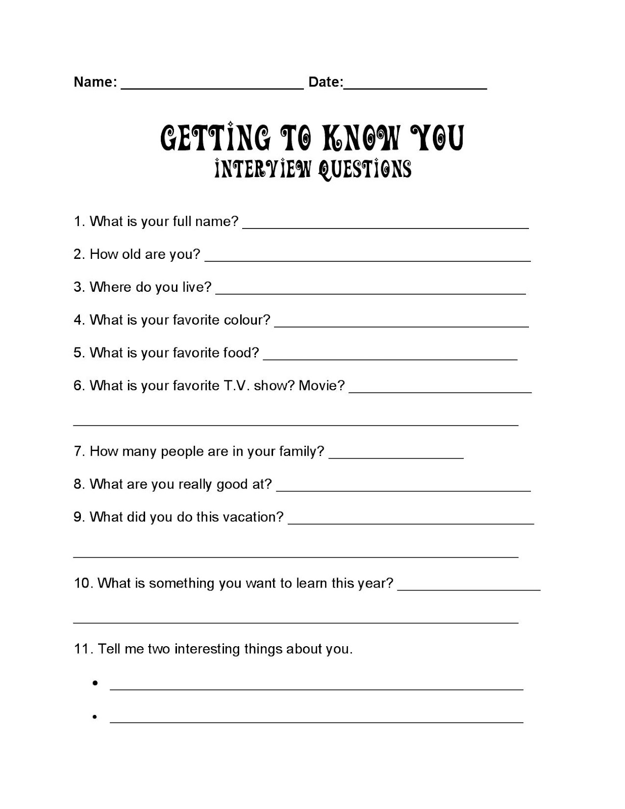 ESL Candy Learning about each other – Getting to Know You Worksheet