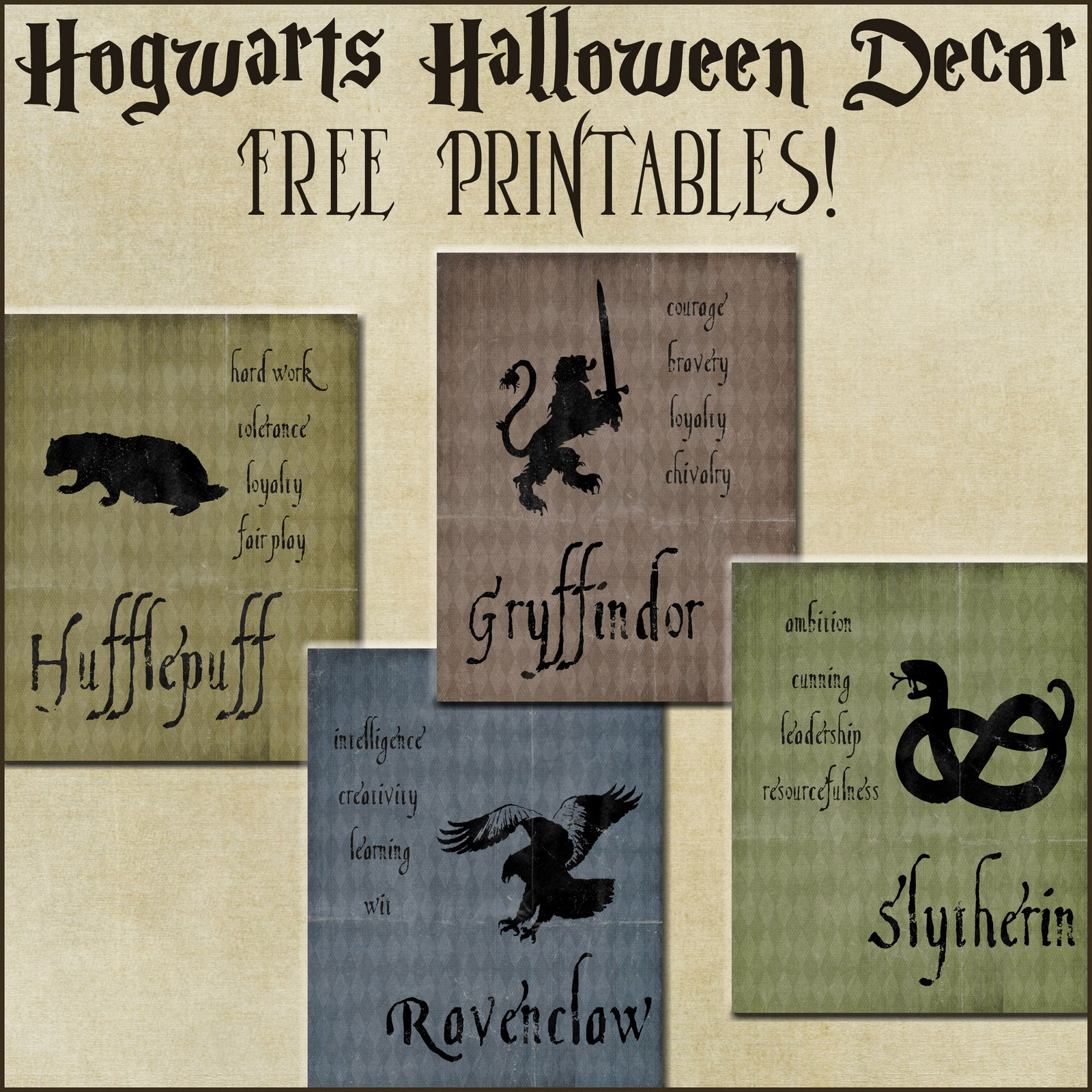 Halloween decor harry potter house posters for Poster decoratif