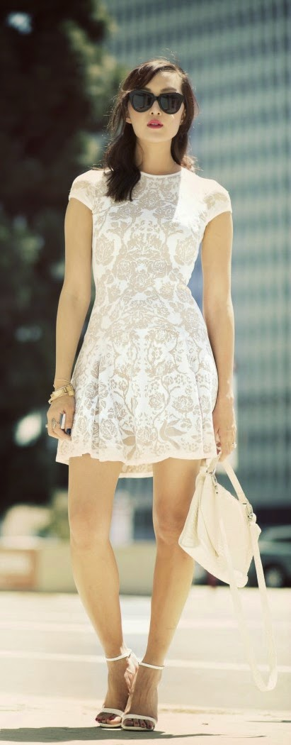 Crystal Lace Mini Dress with White Heels and Handbag | Chic Outfits