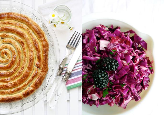 espiral de lombarda, empanada, hojaldre