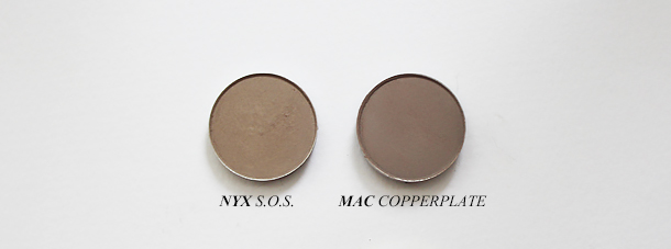 mac copperplate eyeshadow dupe swatch comparison nyx sos