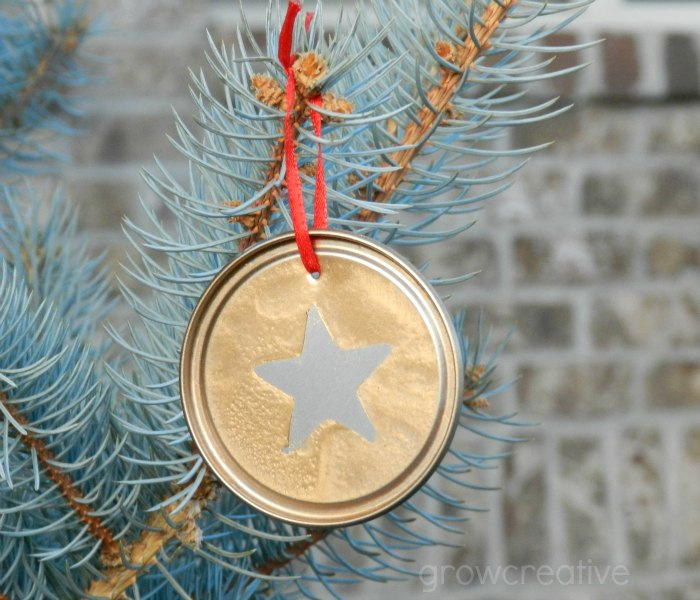 Recycled Christmas Craft- make ornaments from metal juice lids, paper, and spray paint: Grow Creative