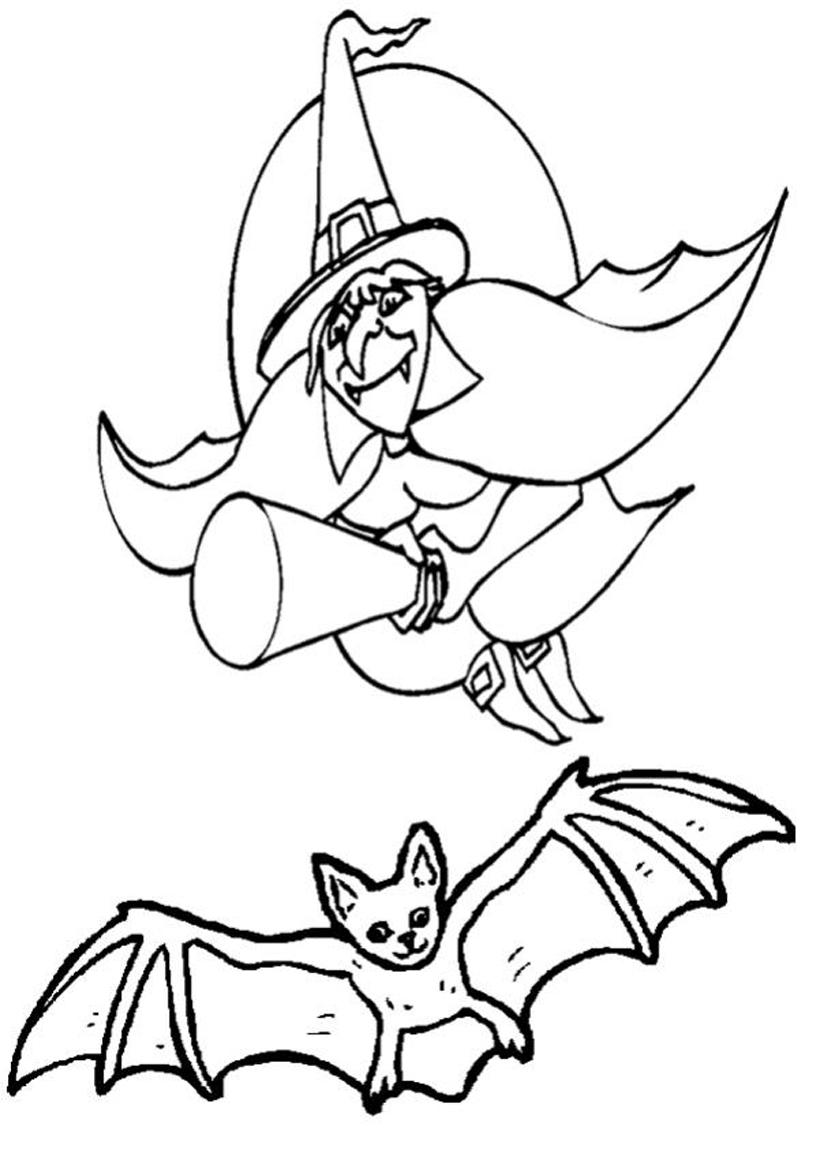 Colorear Pintar: Dibujo de Bruja Halloween