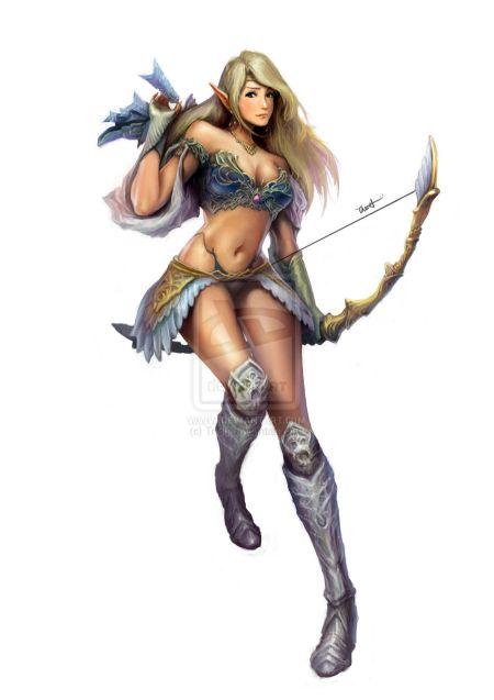 Francis Tneh deviantart ilustrações mulheres fantasia Elfa arqueira