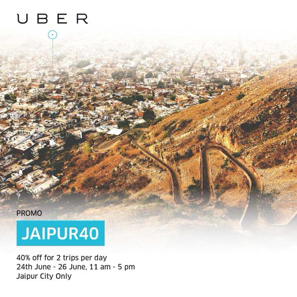 Uber Jaipur Promo Code to Save 40% on Each trip
