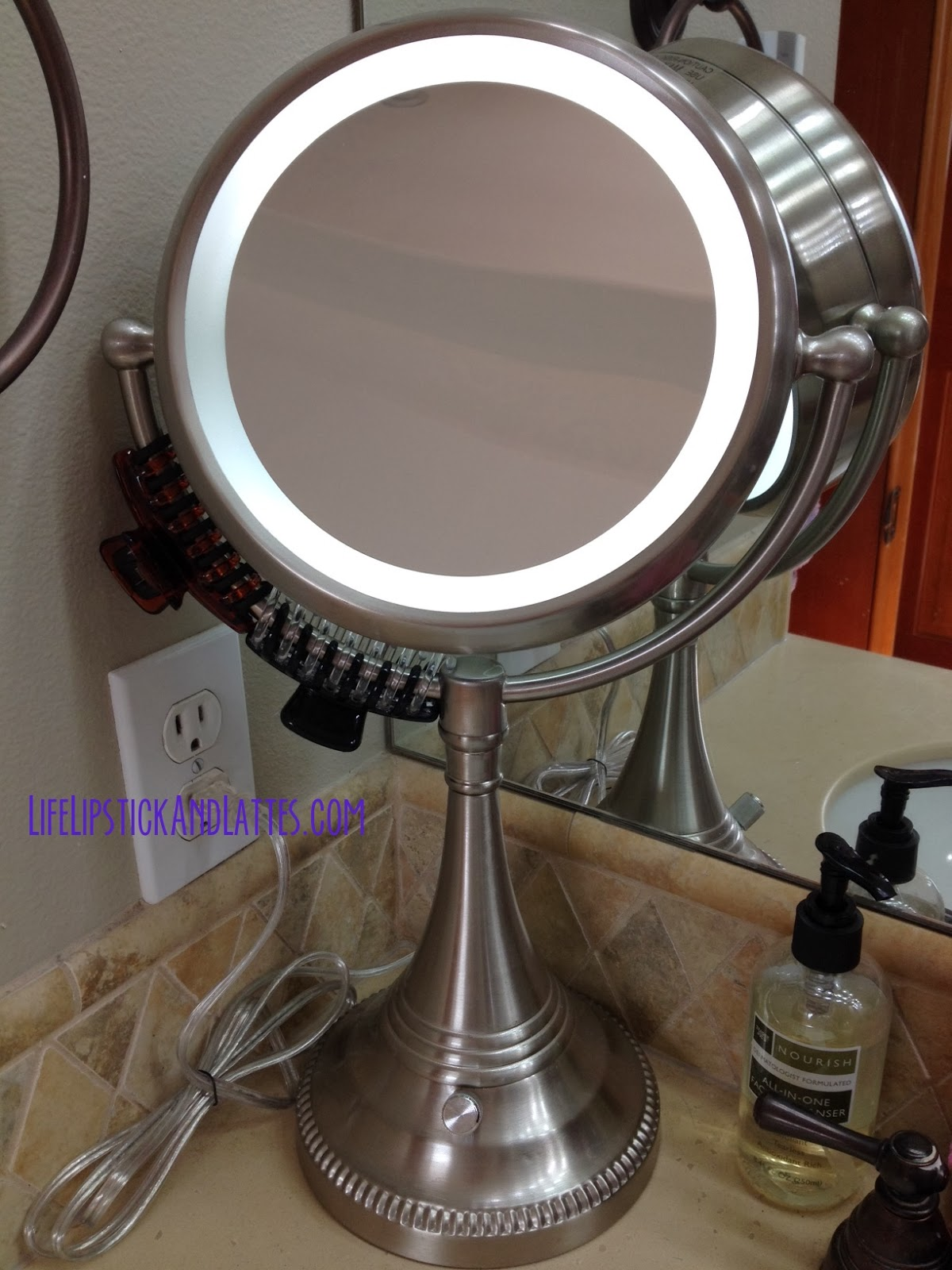 Life lipstick and lattes costco lighted magnifying for Silver stand up mirror