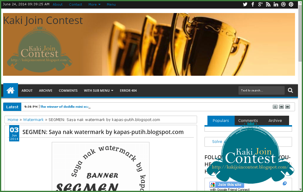 Lucky blogger no 9 - Segmen: Saya nak watermark by kapas-putih.blogspot.com