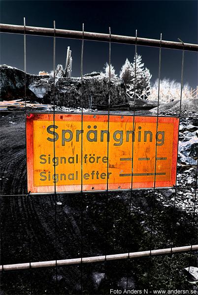 sprängning, skylt, varning för sprängning, byggarbetsplats, explosion, foto anders n