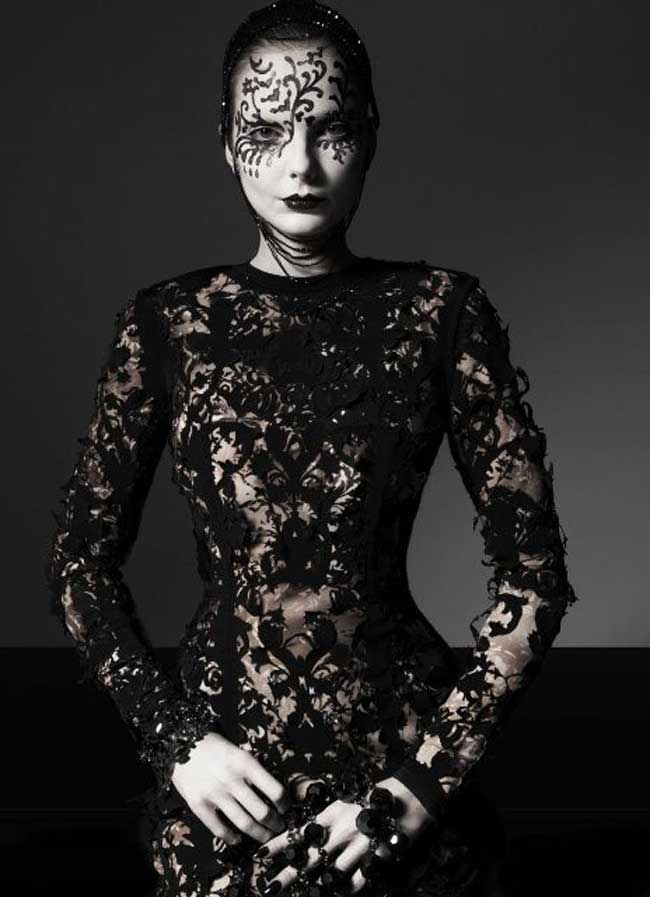 Goth with a twist of avant garde vogue italia velvet for High fashion meaning