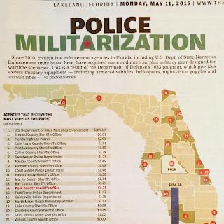 "The Ledger, Lakeland, Florida, Monday, May 11, 2015, ""Police Militarization"""