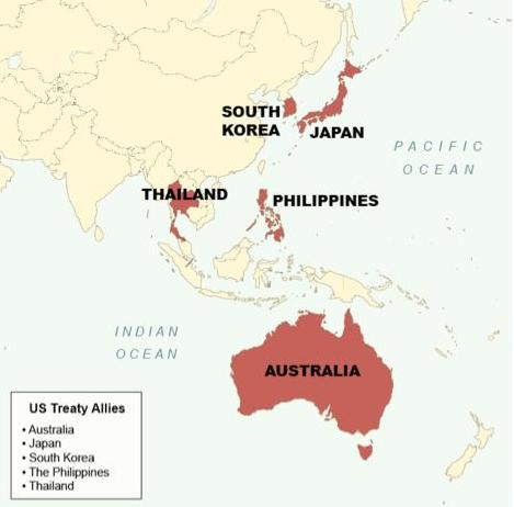 Indias China Blog Five Reasons Why China Will Not Invade Taiwan - Map of us alliances in asia