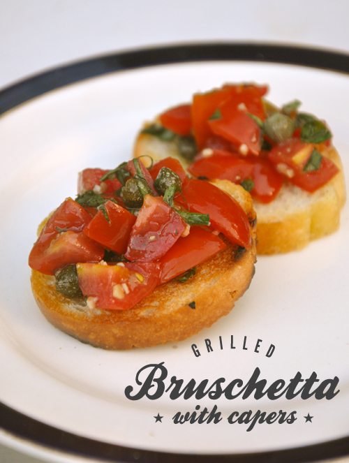 Recipe for Grilled Bruschetta with Capers using Tomatoes, Basil and Balsamic Vinegar
