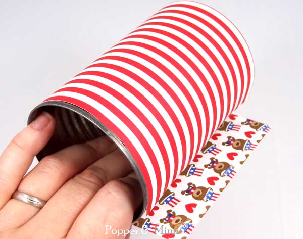 How to wrap a can with patterned paper | popperandmimi.com