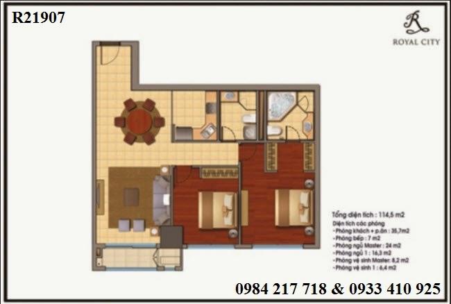 Mua bán căn hộ R21907 chung cư Royal City, căn hộ chung cư Royal city thiết kế đẹp sang trọng, diện tích 114.3 m2 bán giá rẻ 5.135 triệu
