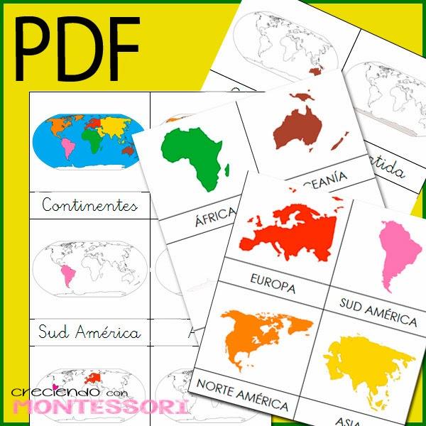 Imprimible Cartas de Continentes Montessori + Cartas de Animales ...