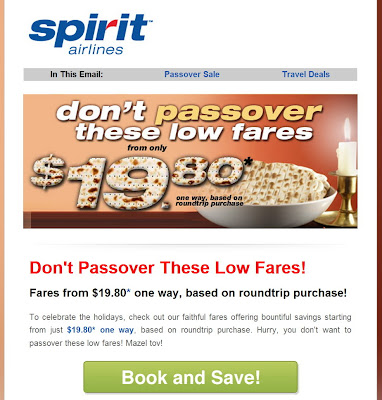 Spirit Airlines Passover Promotion