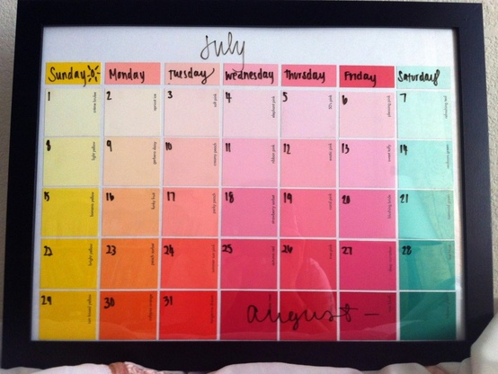 Paint Chip Dry Erase Calendar {wall decor} The use of paint chips in DIY projects is currently a hot trend! Here is a post teaching you how to create your own personalized calendar using a picture frame and paint chips.