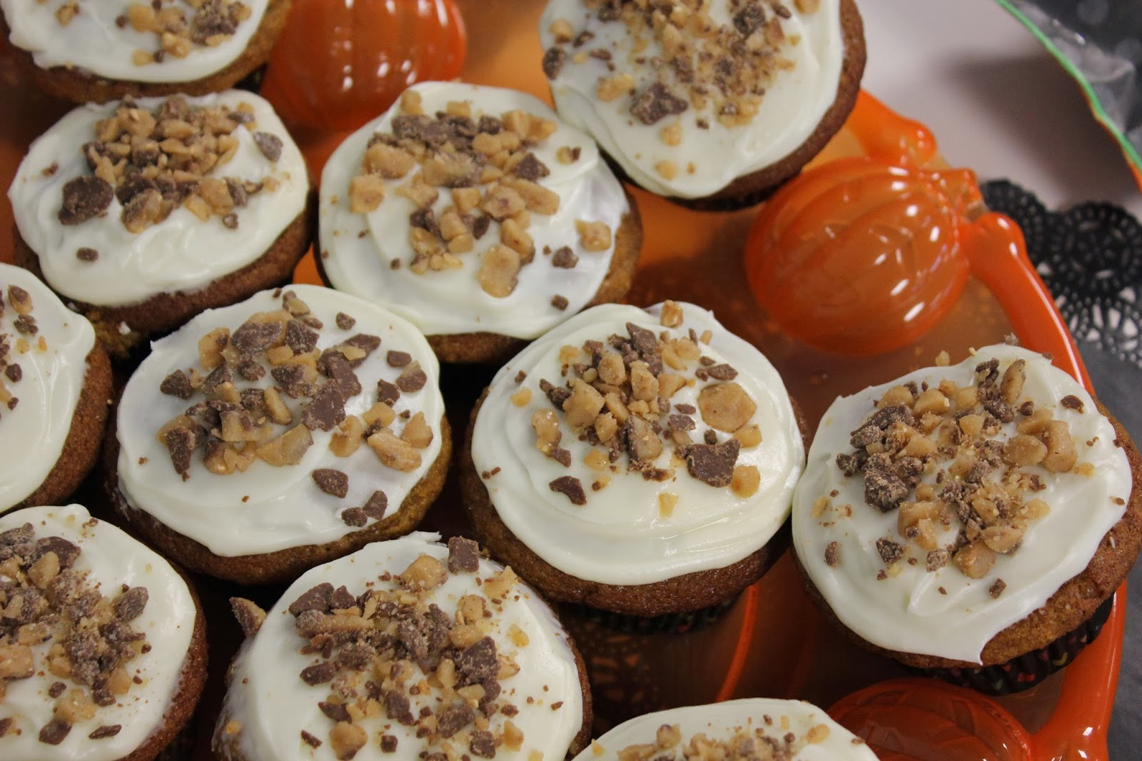 Whisked Away Pumpkin Cupcakes Topped With Heath Bar Crumbles
