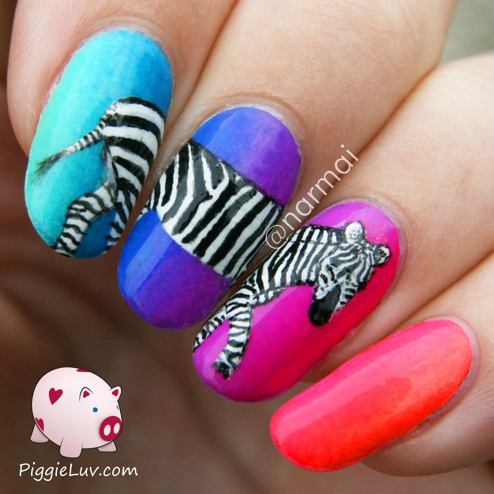 PiggieLuv: Zebra nail art on neon gradient