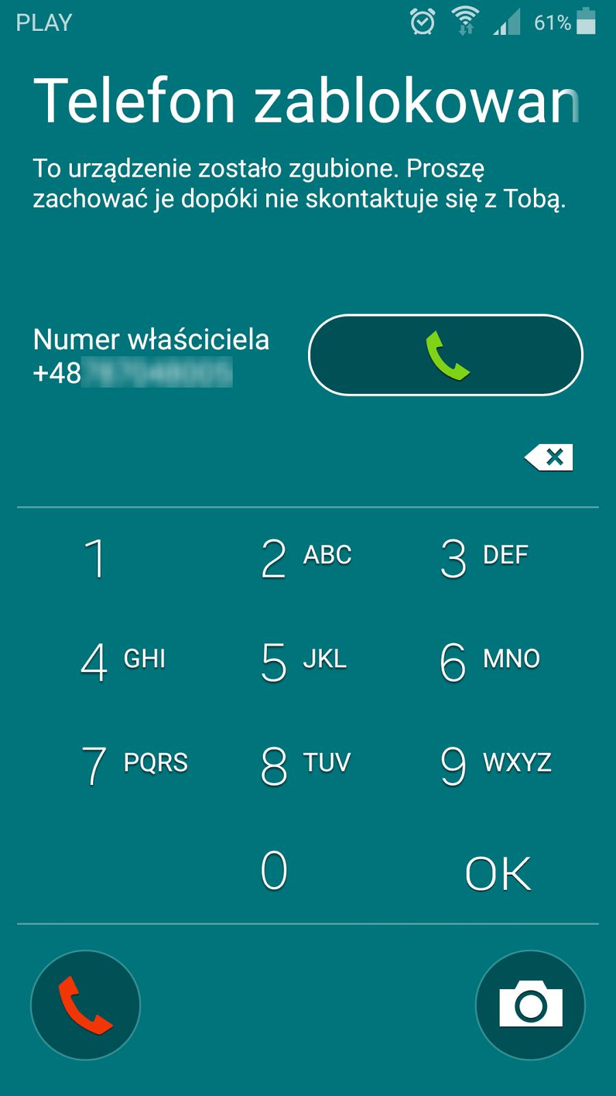 Zablokowany ekran telefonu