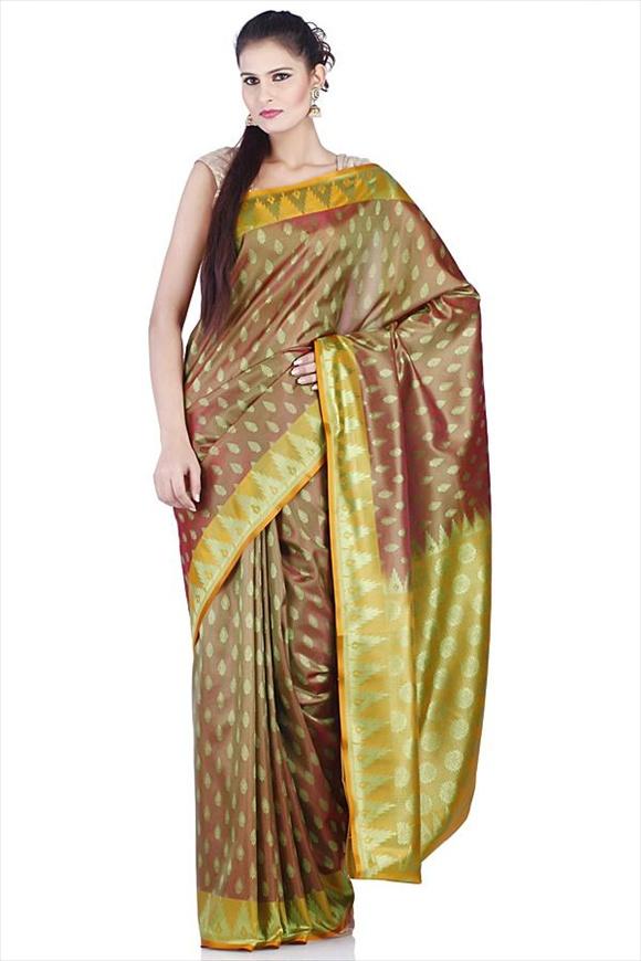Olive Green Polyester Banarasi Saree