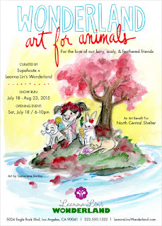 Flat Bonnnie benifit art show flyer for Wonderland Art For Animals