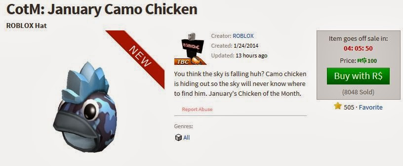 Unofficial Roblox Chicken Of The Month Roblox