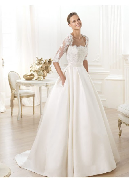 half sleeves wedding dress