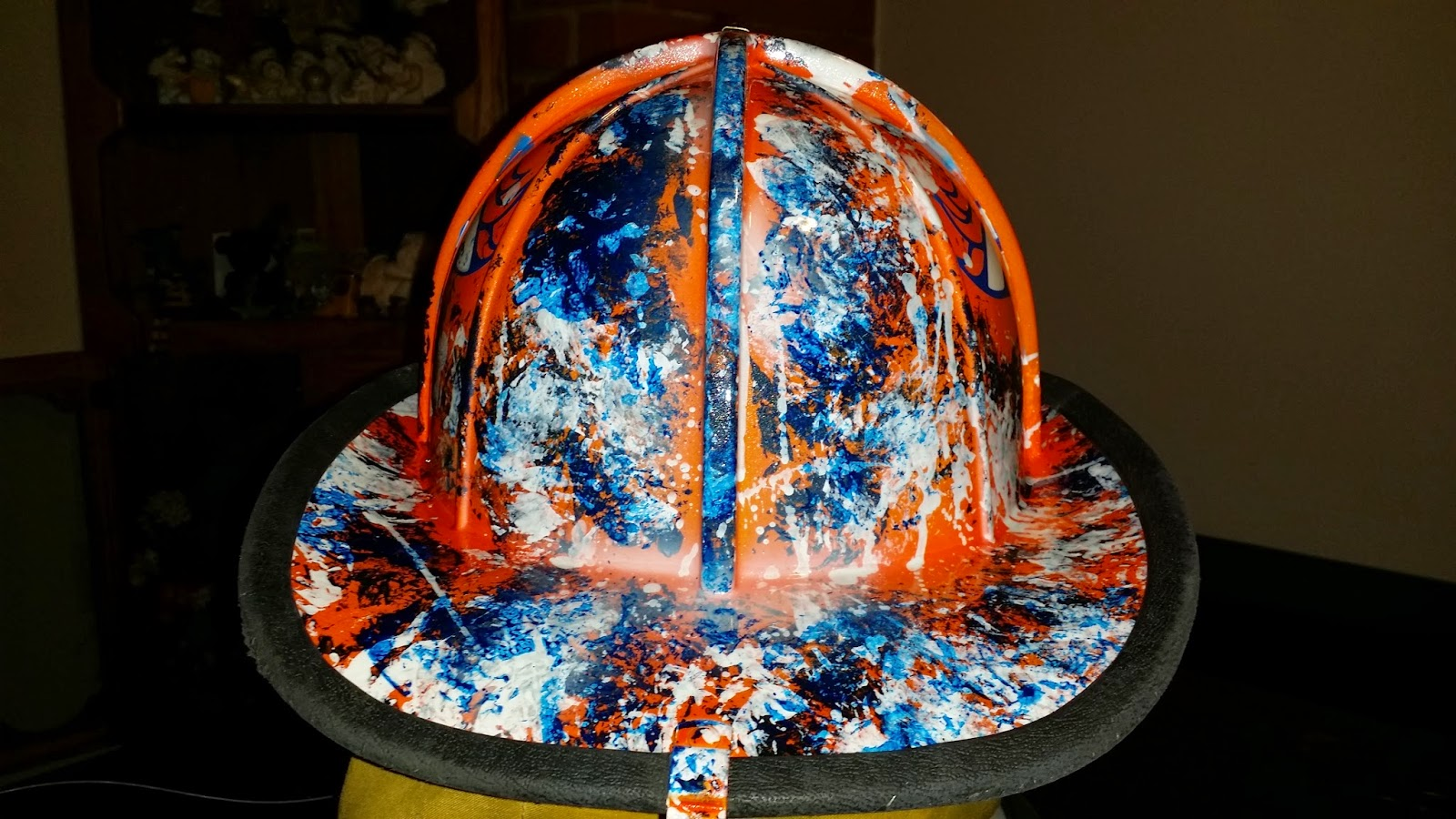 back of fire helmet, denver broncos theme