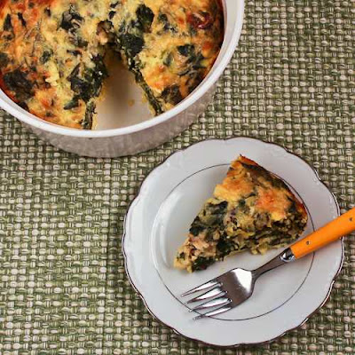 Swiss Chard and Goat Cheese Custard Bake Recipe (Low-Carb, Gluten-Free) found on KalynsKitchen.com