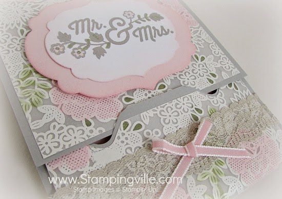 Create this interlocking closure using the Stampin' Up! Envelope Punch Board. #papercrafts #cardmaking #wedding #StampinUp