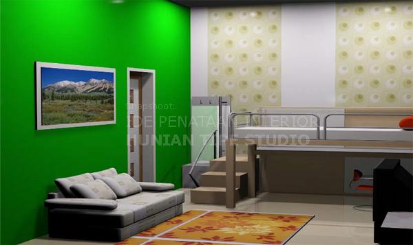 Desain Kamar Kos dengan Perabot Multi Fungsi, Permainan Warna dan