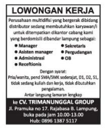 Karir Kerja di Lampung CV. TRIMANUNGGAL GROUP
