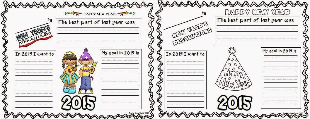 http://www.teacherspayteachers.com/Product/New-Years-Resolution-Writing-Activity-468486