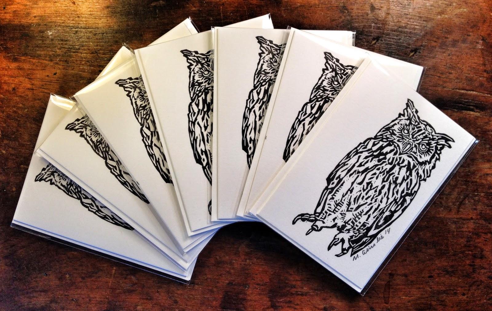 fablemountain Mark Ainslie lino cut lino print linoprint printmaking owl bird animal card bird card owl card