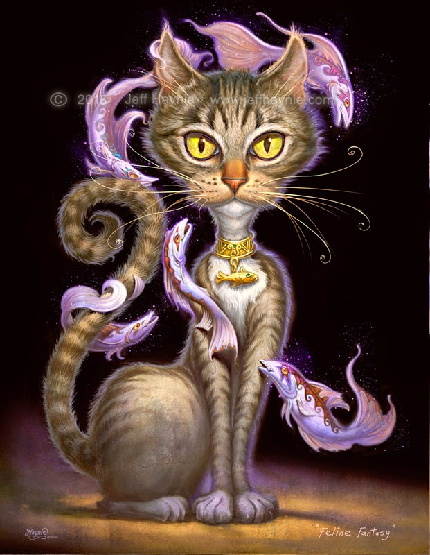 12-Feline-Fantasy-Jeff-Haynie-Cats in Drawings-Paintings-and-Jewelry-www-designstack-co